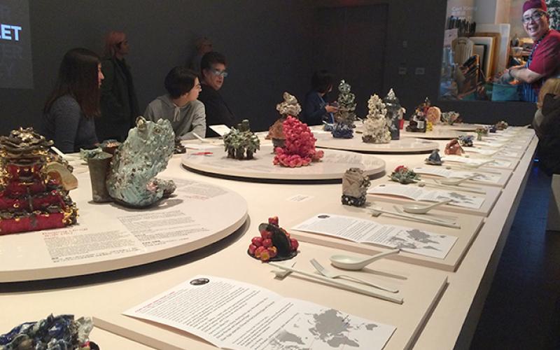 Table design with artist ceramics